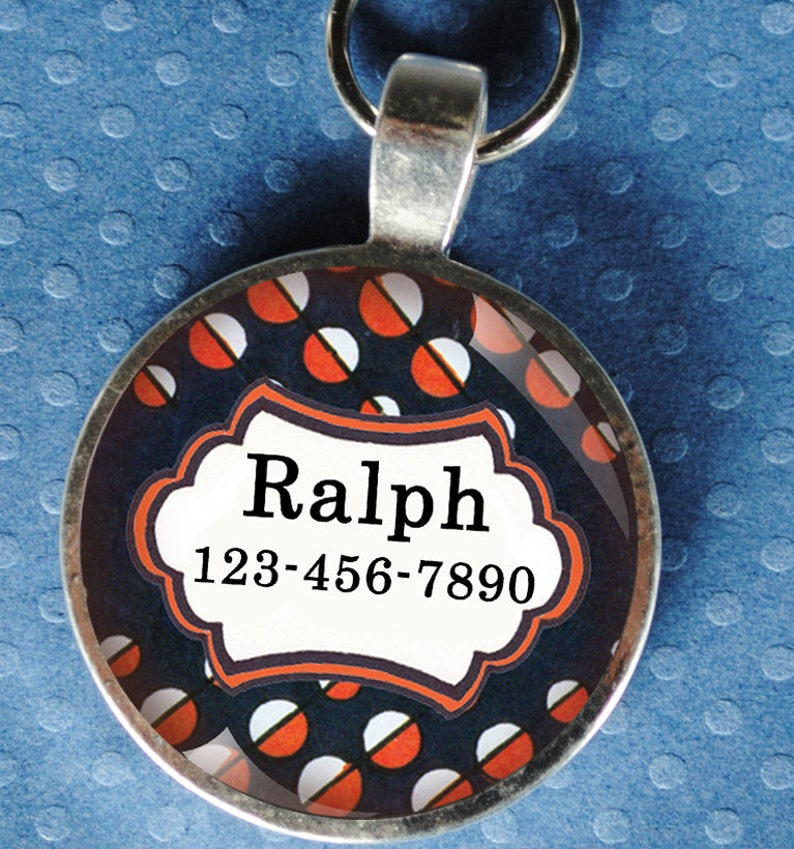 Pet iD Tag dark navy blue and orange patterned colorful round image 0