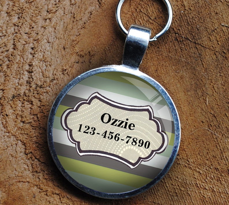 Pet iD Tag sage green striped colorful round Dog Tag 35mm image 0