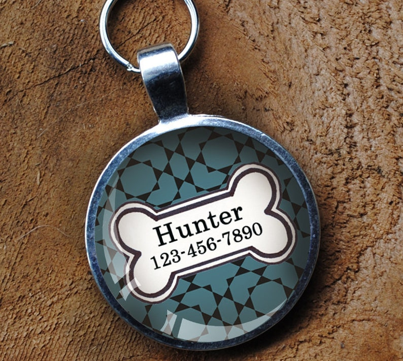 Smokey blue Pet iD Tag colorful round Dog Tag 35mm round   by image 0