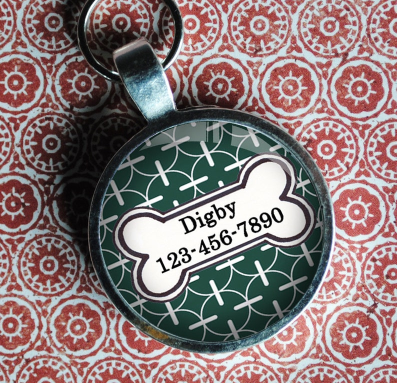Pet iD Tag green patterned colorful round Dog Tag 35mm round  image 0