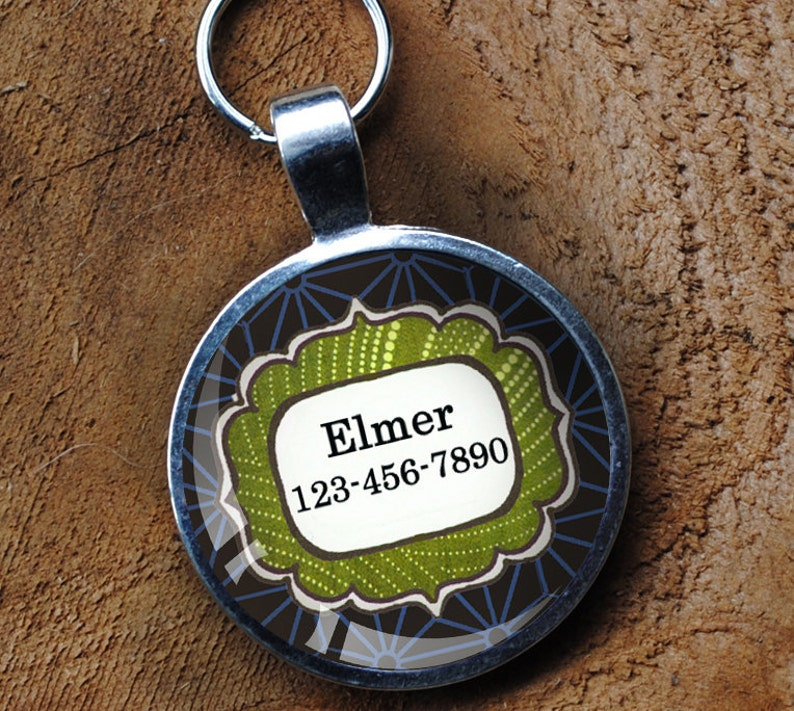 Green and blue patterned Pet iD Tag colorful round Dog Tag image 0