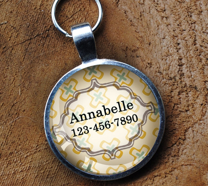 Pastel Yellow and green Pet iD Tag colorful round Dog Tag 35mm image 0