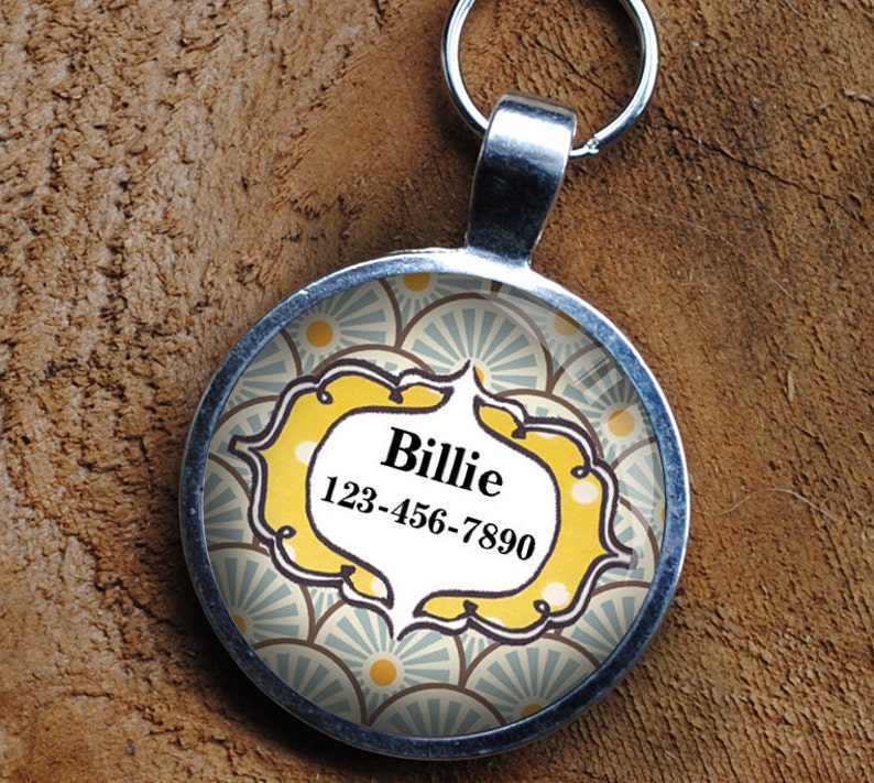 Pet iD Tag yellow and blue patterned colorful round Dog Tag image 0
