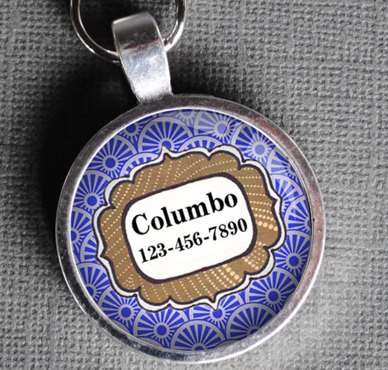 Pet iD Tag light purple patterned colorful round Dog Tag 35mm image 0