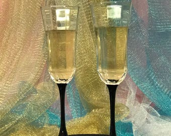 Black Bottom Champagne Flutes-custom (made in France)