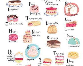 Alphabet of Cake A3 Art Print