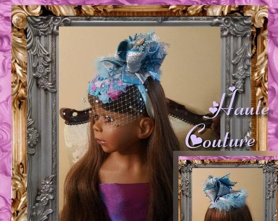 Princess Fascinator with Rhinestone Birdcage Veil & Marabou