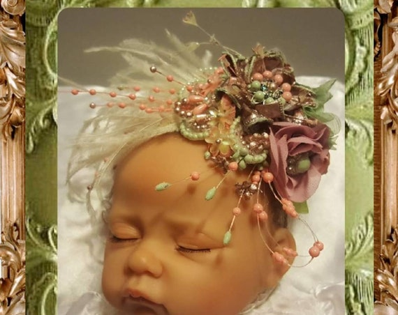 Celadon Baby Parisian Headpiece - Hand Painted