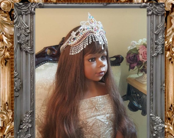 Hand Painted Silver Rhinestone and Glass Beaded Crown