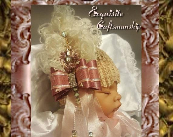 Marie Antionette Lace Baby Bonnet Mauve