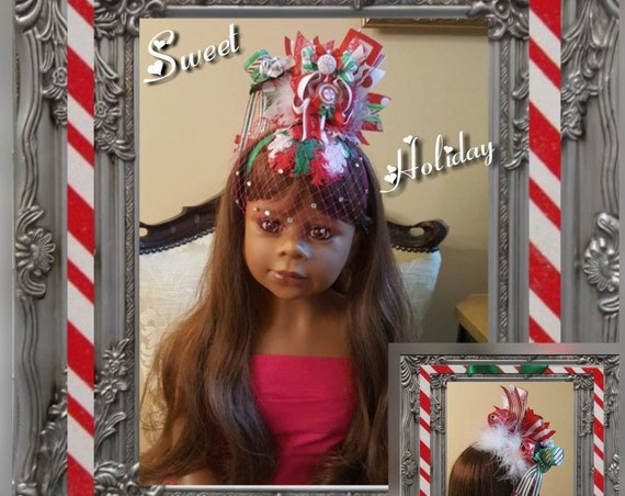 Candy Cane Queen Fascinator with Rhinestone Birdcage Veil