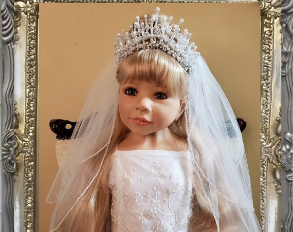 Double Pearl and Iridescent Crystal Crown with Rhinestone Edged Veil