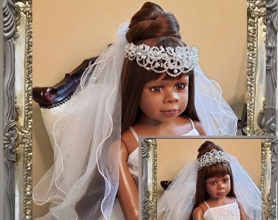 Reversible Scalloped Edged Pearl and AB Glass Crystal Crown with Satin Ribbon Edged Veil