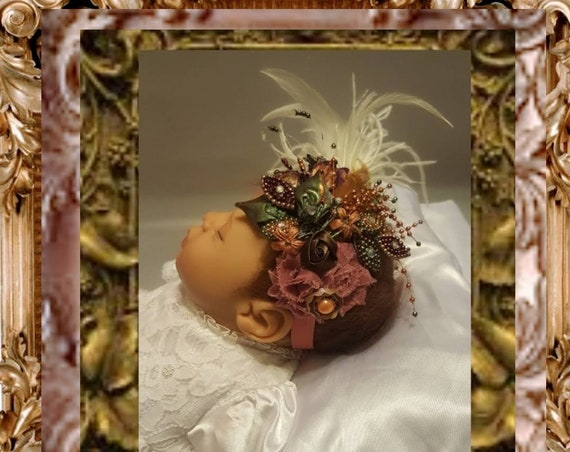 Baby Parisienne Mauve Headpiece ~ Hand Painted