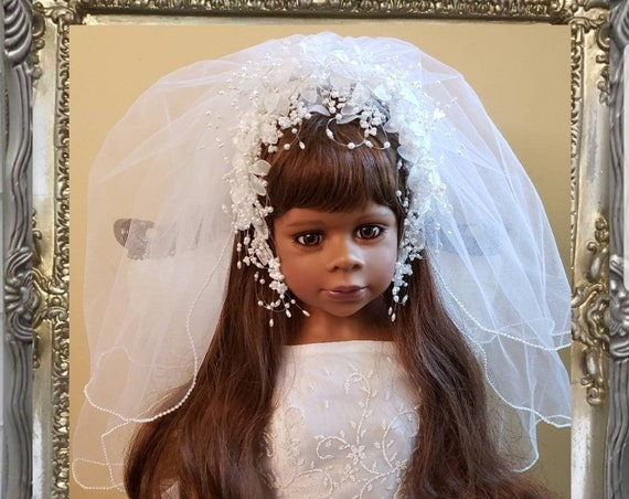 1st Communion/Flower Girl Floral Headband & Pearl Edged Veil