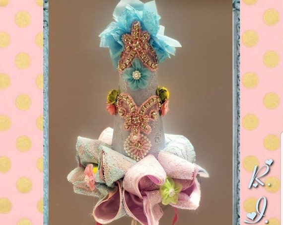Pastel Shimmer Bows Birthday Party Hat