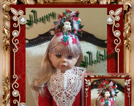 Night Before Christmas Holiday Fascinator with Rhinestone Birdcage Veil