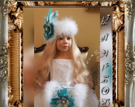 White Christmas Hat and Muff Set