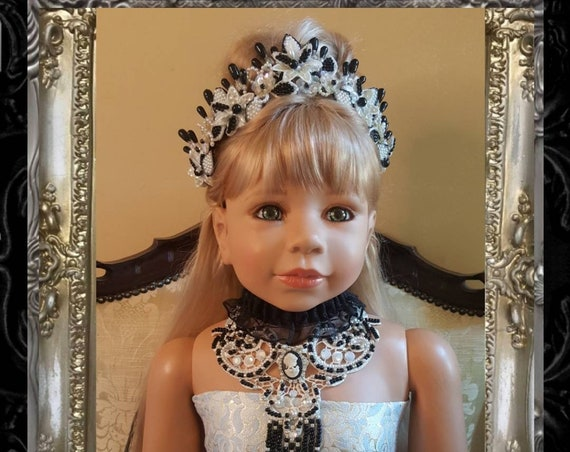 Black and White Hand Painted Tiara & Venice Lace Glass Beaded and Pearl Choker