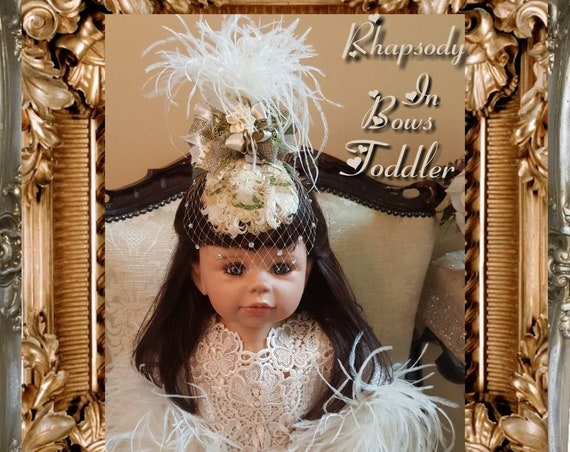 Victorian Opulence Toddler Fascinator with Rhinestone Birdcage Veil