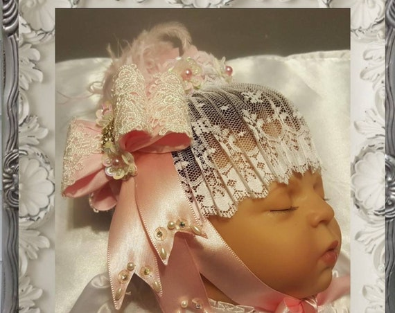 Marie Antionette Lace Baby Bonnet Pink