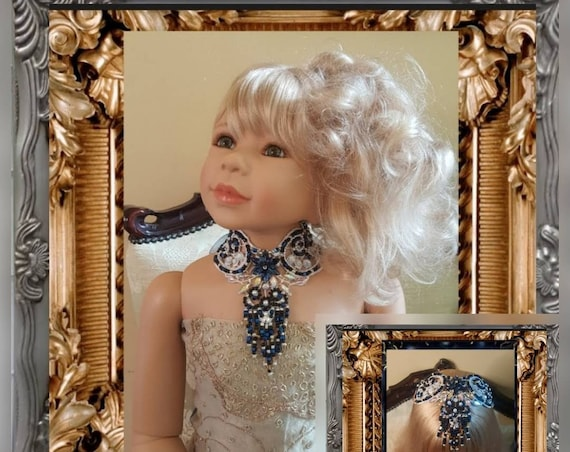 Venice Lace Navy Blue and Glass Beaded Headpiece & Collar in One