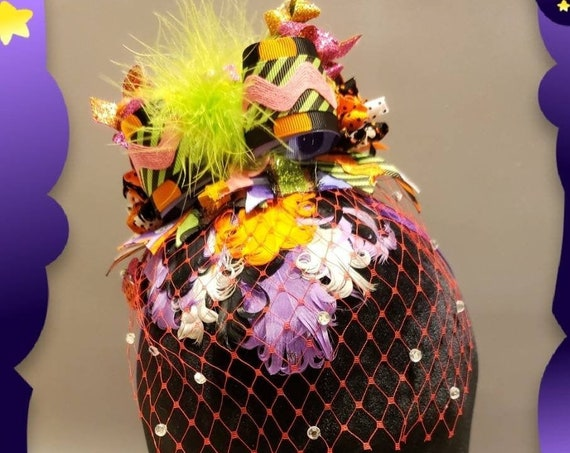 Whimsical Halloween Headband Fascinator with Rhinestone Veil
