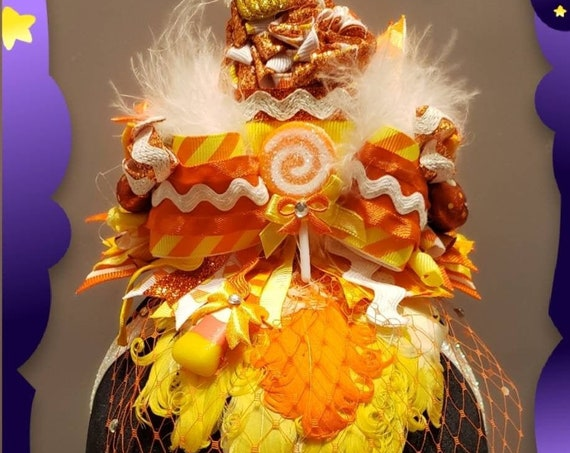 Candy Corn Halloween Headband Fascinator with Rhinestone Veil