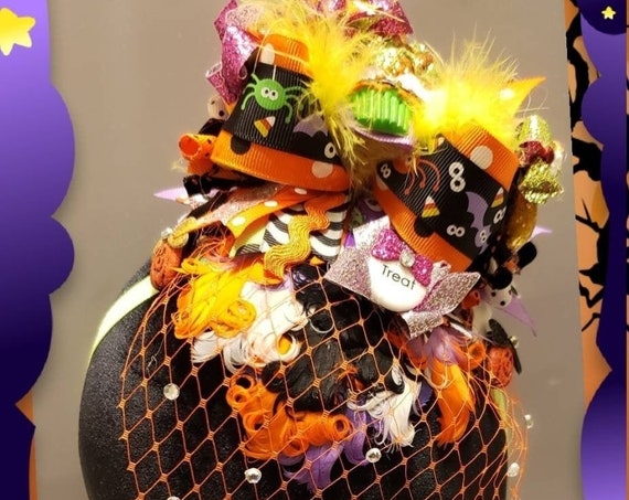 Cupcake Whimsical Halloween Headband Fascinator with Rhinestone Veil