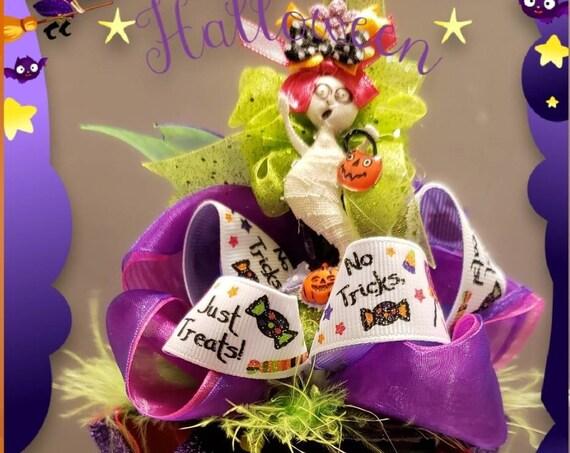 No Tricks Just Treats Halloween MINI Witch Hat Headband