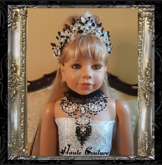 Reversible Tiara, Small Comb Tiara & Venice Lace Glass Beaded and Pearl Choker - Hand Painted