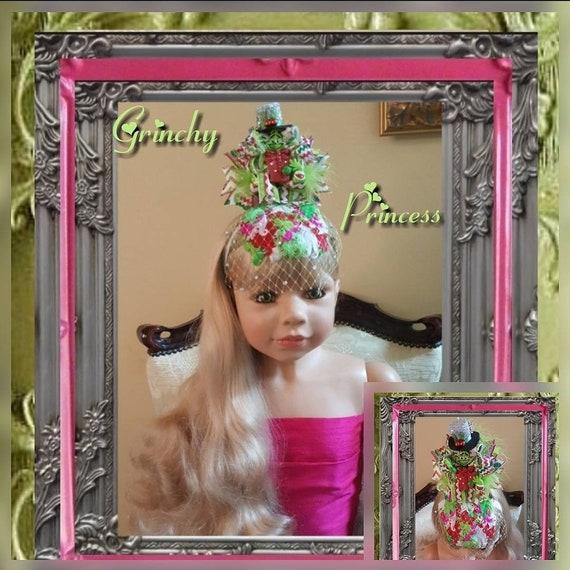 Grinchy Princess Fascinator with Rhinestone Birdcage Veil