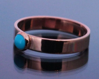 Copper and Turquoise Ring   Copper Turquoise Ring   Sleeping Beauty Turquoise Ring   Copper Ring   4mm Copper Ring