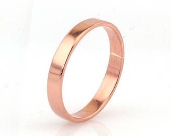 Copper Ring--Women's Copper Wedding Ring--Thin Band--3mm wide Flat Edge--COPPER Band Custom made in YOUR size