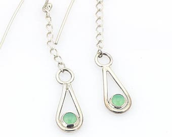 Chrysoprase Earrings Chrysoprase drops dangle earrings drop earrings  green drop earrings green dangle earrings silver dangle earrings