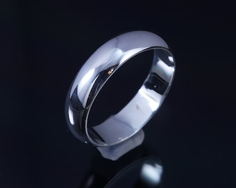 Low-Dome Silver Ring-1.89mm Minimalist Ring Men's Wedding Band Men's silver ring Wide band ring sterling silver ring gift for him