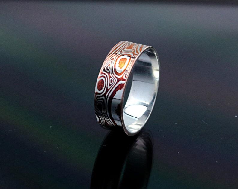 6mm wide ring Mokume Gane Ring Mokume ring Mens mokume ring mokume Wedding Band Wood Grain Ring Mokume band Mokume Gane damascus ring copper