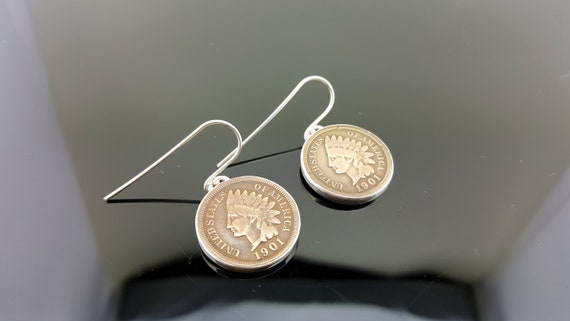 Coin Jewelry VINTAGE INDIAN CENT EARRINGS Antique Coins 14K Gold Filled Bezels