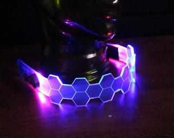 Hive Shield Slim vaporwave Neon Blue/pink The original Illuminated Cyberpunk Cyber goth visor