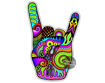 27c0ba967 Rock On Sign Hand Sticker Rock and Roll Decal Colorful Car Decal Laptop  Decal Wall Art Music Heavy Metal