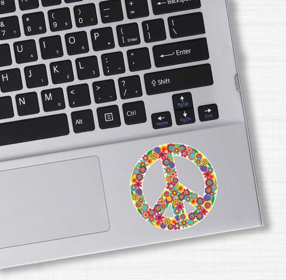 Small Floral Peace Sign Sticker Colorful Flower Laptop Decal Etsy