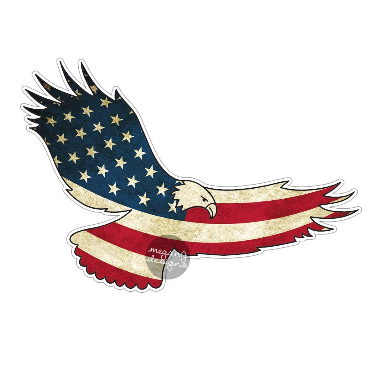American flag eagle car decal sticker patriotic usa bumper sticker laptop decal america stars stripes red white blue grunge men eagle