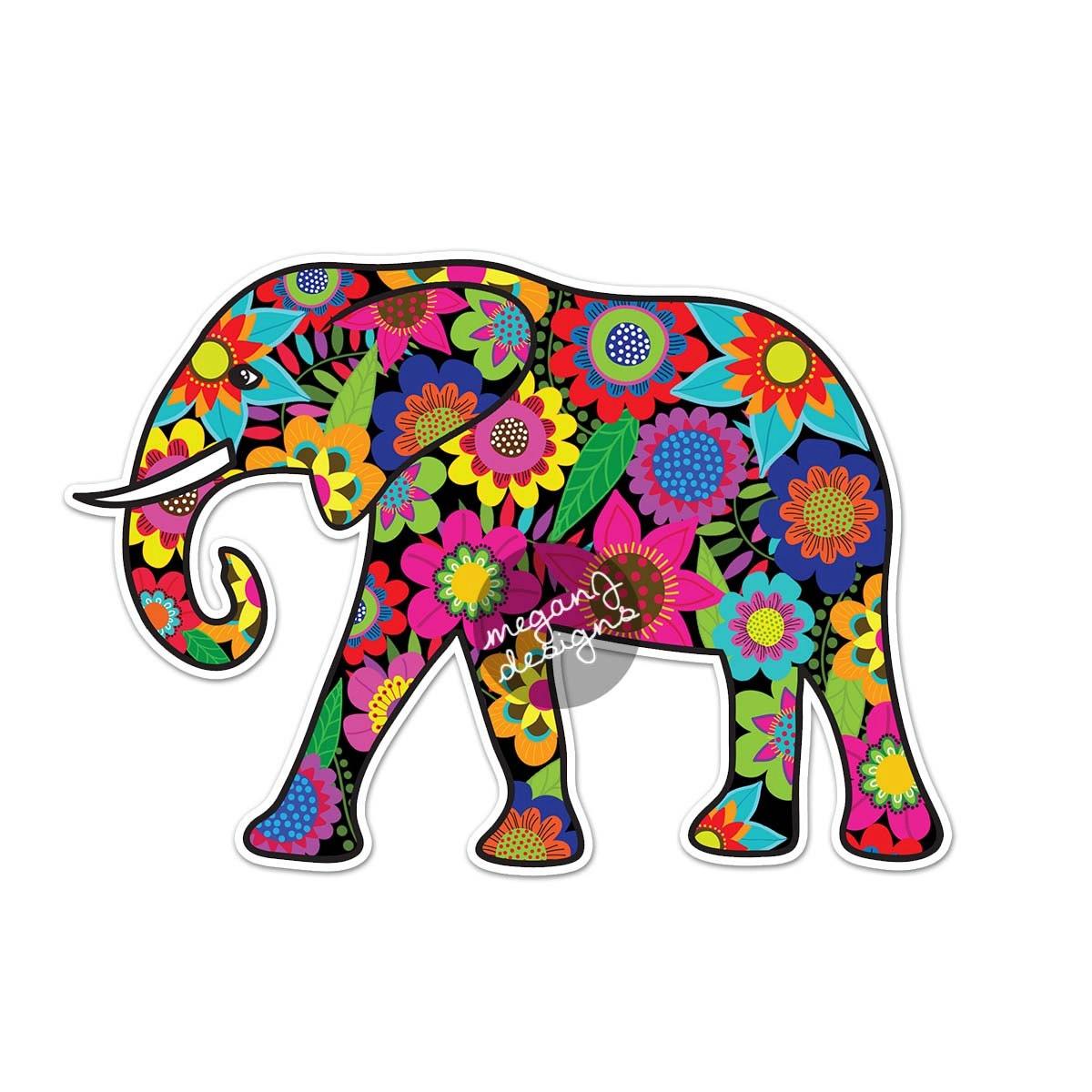 Elefant Auto Aufkleber Blumen bunte Aufkleber Laptop Aufkleber   Etsy