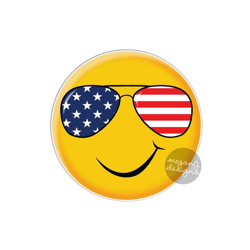 Patriotic Sunglasses Smiley Face Sticker - Cute USA Emoji America Bumper  Sticker Laptop Decal Stars Stripes Red White Blue Yellow Smiley
