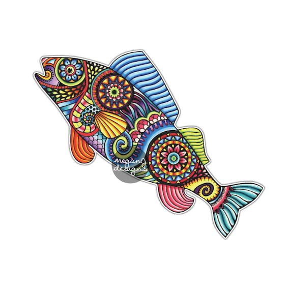 Colorful Fish Hand Drawn Pattern Vinyl Sticker Waterproof Decal