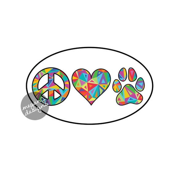 Peace love paw decal dog paw print heart vinyl bumper