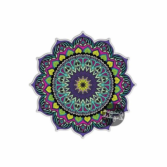Earthy Mandala Sticker Colorful Car Decal Vinyl Bumper Etsy