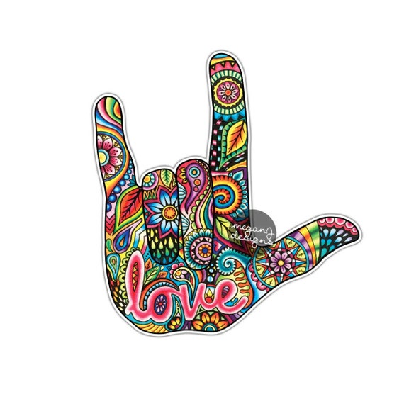 I Love You Sign Language Hand Sticker Decal Multicolor Car Etsy