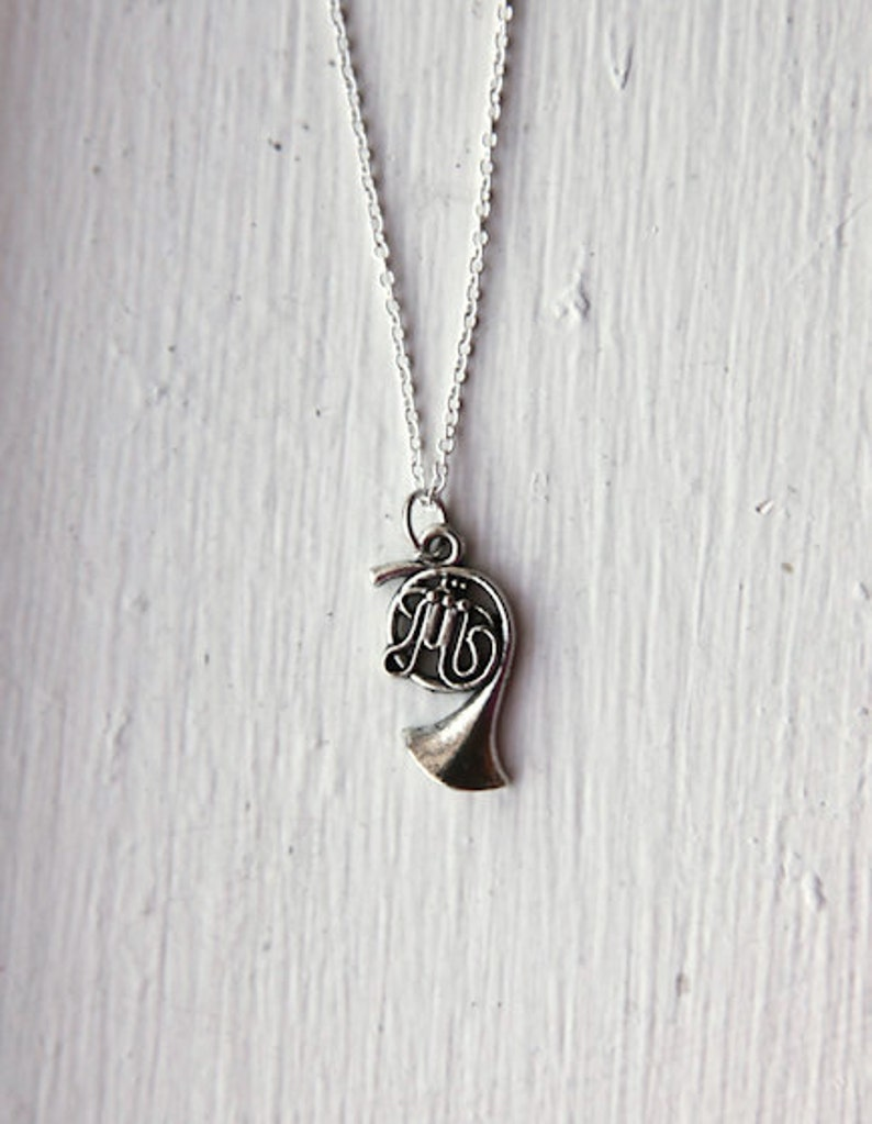 French Horn Music Necklace 925 Sterling Silver or Silver Tone image 0