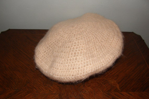 Pale Pink Hand Knitted Beret Hat